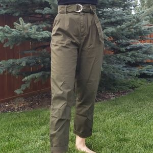 Olive Green Paperbag Trousers
